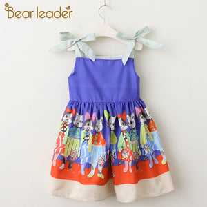 Cat Pattern Bow Lovely Sleeveless Party Girls Dresses For 3-8 Years