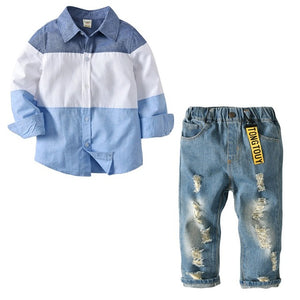 2 PCS  long sleeve Plaid Shirt+Jeans  size 2T to 7