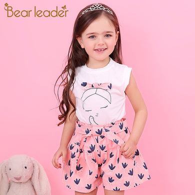 Summer Sleeveless T-shirt+Print Bow Pants/2Pcs for toddlers, pre-teen