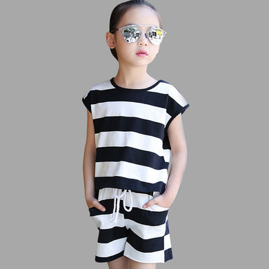 Striped Shirt +Pants Casual Children Sleeveless set 6 8 10 12 14 18