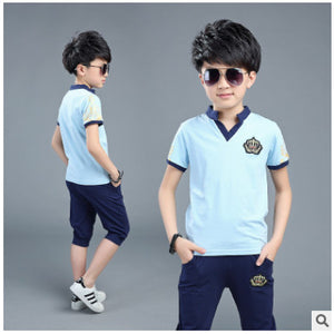 short-sleeved cotton casual T-shirt / shorts boys clothes 3-15 years