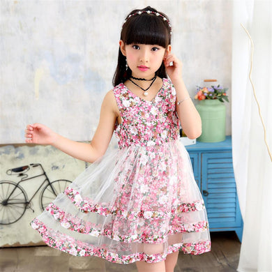 Summer Dresses with net overlay for Girls 3 4 5 6 7 8 9 10 11 12 Year