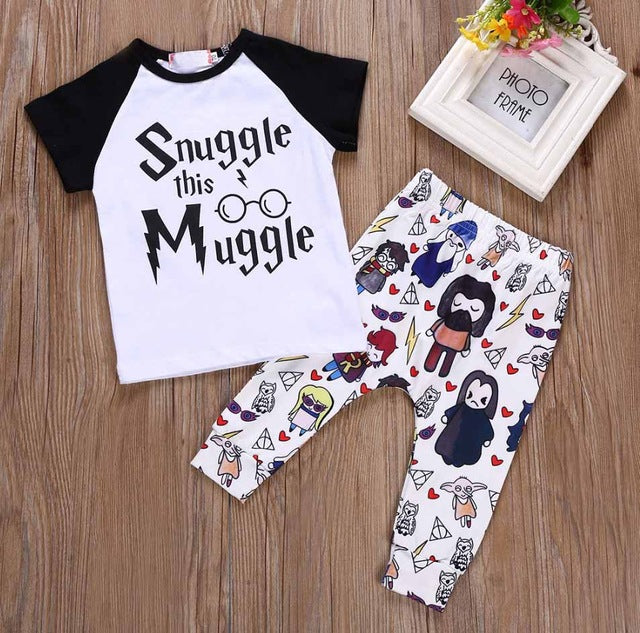 Baby Girls/boys Clothes Snuggle This Muggle Top T-shirt+Pants 2pcs Outfit