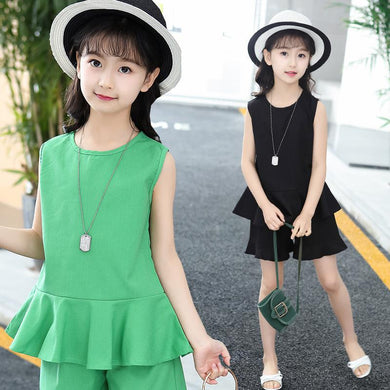 Summer Sleeveless Tops T-shirts + Shorts 2 Pcs set 4 6 8 10 12 14