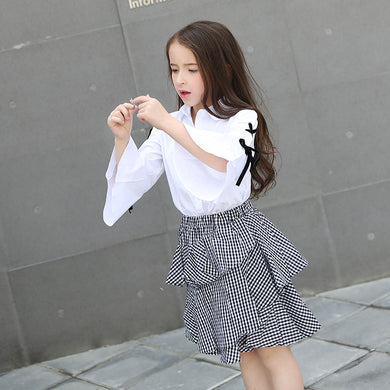 2pcs White Blouse/ Plaid Skirt 6 8 10 12 14 15