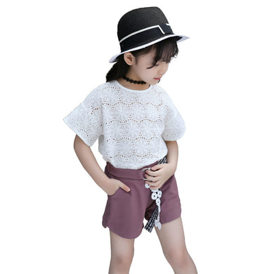 White Solid Short Sleeve Shirt + Short Teenage 6 8 10 12 Year Girls Outfits