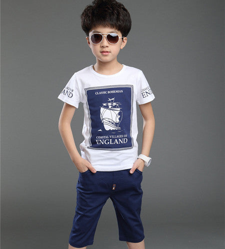 short-sleeved+shorts set / cotton casual T-shirt big boys clothes 3-16Y