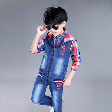 children's plaid shirt +denim hooded+jean trousers three-piece sets