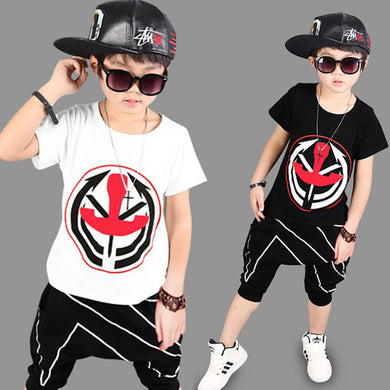 3 4 6 8 10 12 Year Boy Loose Short Sleeve T shirt+ Shorts Set