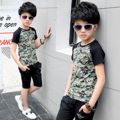 Camouflage Boys /Teen Boys Clothing 2pcs T Shirt + Pants 10 12 Years