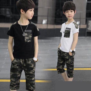 Teenage Clothes For Big Boys 8 10 12 Years  2pcs Camouflage Print T Shirts + Pants