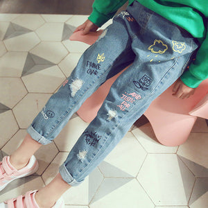 Autumn Printing Girls Jeans Hole Style Children Jeans For 3-7 Years