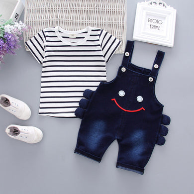 Striped Short Sleeve/ Smiling Face Printed Pant