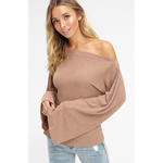 CRAZY IN LOVE OFF THE SHOULDER RIBBED TOP