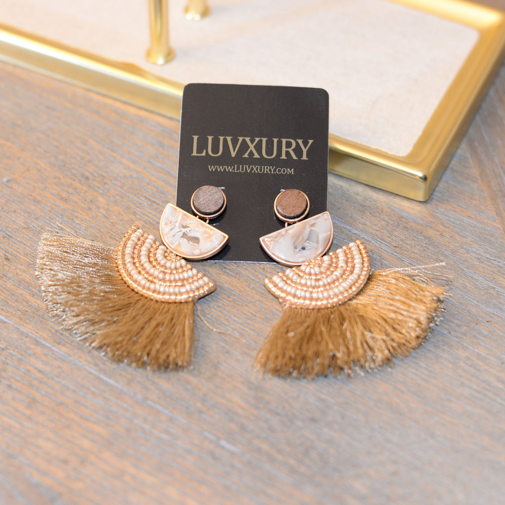 Half disc beaded with Fringe Drop Earrings