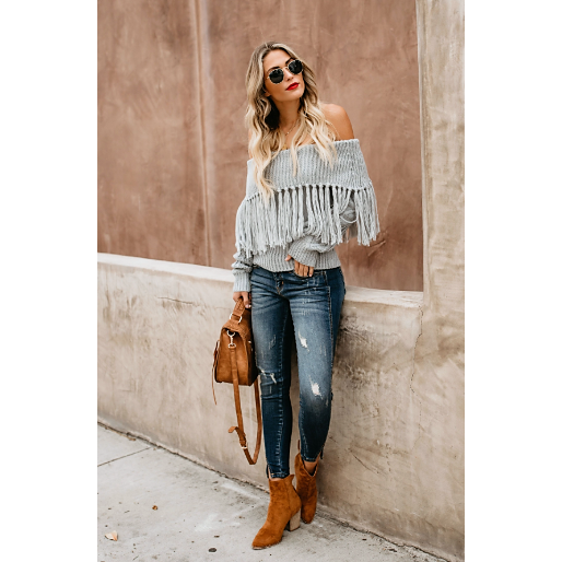 NINA OFF THE SHOULDER FRINGE SWEATER - GREY
