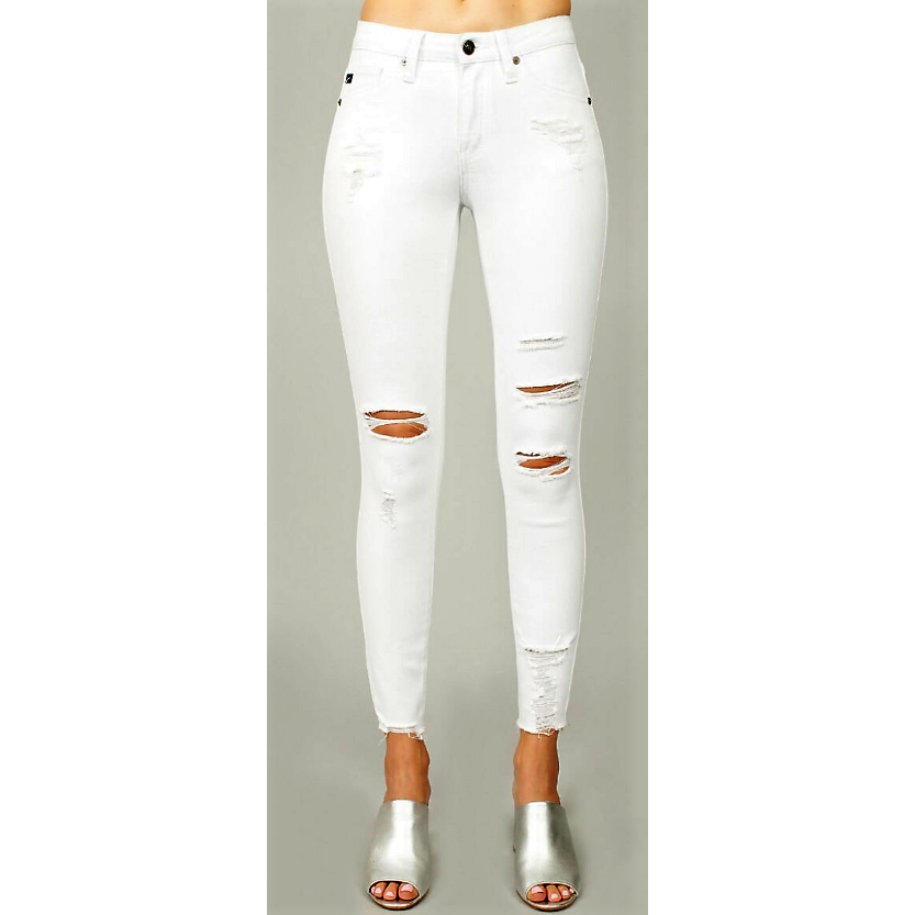 Luvxury White - Distressed Frayed Ankle Skinny Jeans - Luvxury