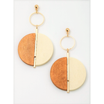 Wooden Contrasted Split Dangle Earrings