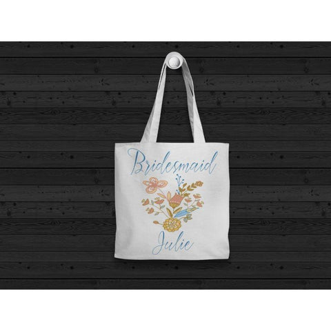 Bridesmaid Floral Tote Bag, Tote Bag, Bridal Bag