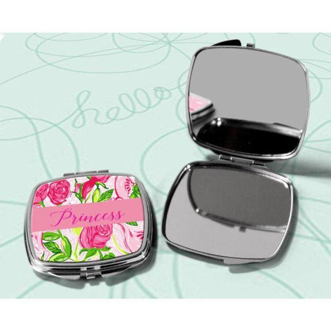 Floral Bridesmaid Gift Compact, Lilly Inspired Mirror Compact, Metal Makeup Compact