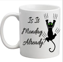 Coffee, Because Monday Happens, Funny Saying, 11 Ounce Coffee Mug, Sublimation, Coffee Lovers Gift, Mug, Drinkware, Tea Cup, Kitchenware