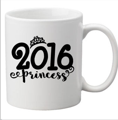 Tell the world about their accomplishment! 2016 Princess 11 ounce white coffee mug, word color options