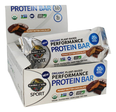 Garden of Life Organic Plant-Based Performance Protein Bars Peanut Butter Chocolate - 12 Bars