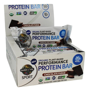 Garden of Life Organic Plant-Based Performance Protein Bars Chocolate Fudge - 12 Bars