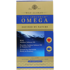Solgar Full Spectrum Omega, Wild Alaskan Salmon Oil, 120 Softgels