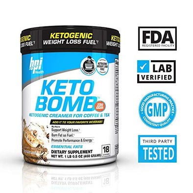 BPI Sports Keto Bomb Ketogenic Creamer for Coffee and Tea