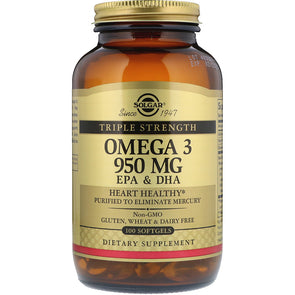 Solgar Omega-3 EPA & DHA, Triple Strength, 950 mg, 100 Softgels