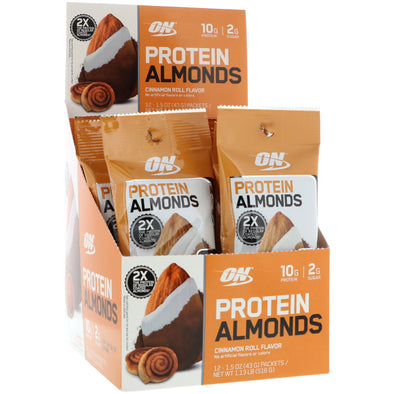 Optimum Nutrition Protein Almonds - Cinnamon Roll (12 Packet)
