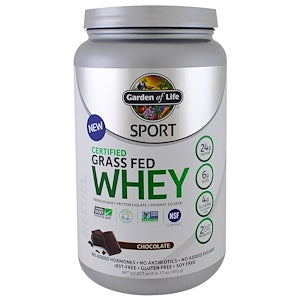 Garden of Life, Sport, Certified Grass Fed Whey Protein, Chocolate, 23.7 oz (672 g)