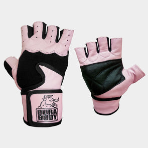 Pink Workout Gloves – Leather With Shock Absorption