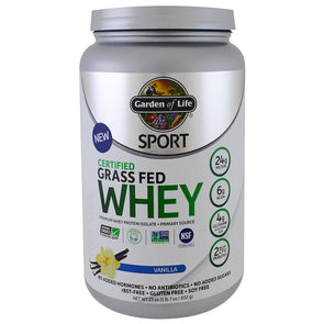 Garden of Life, Sport, Certified Grass Fed Whey Protein, Vanilla, 23 oz (652 g)