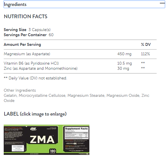 Optimum Nutrition ZMA, 90 Caps