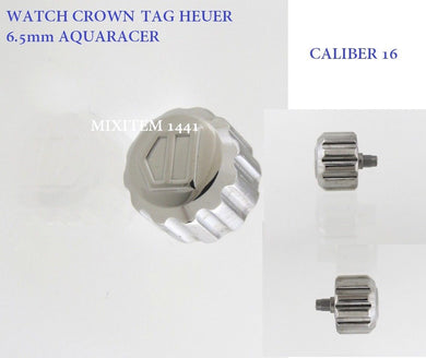 New ! Watch Crown TAG HEUER Screw Down 6.5 mm / Stainless Steel +Tube 6501