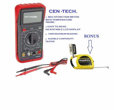 New / Sealed Cen-Tech 11 Function Digital Multimeter / Audible Continuity +BONUS