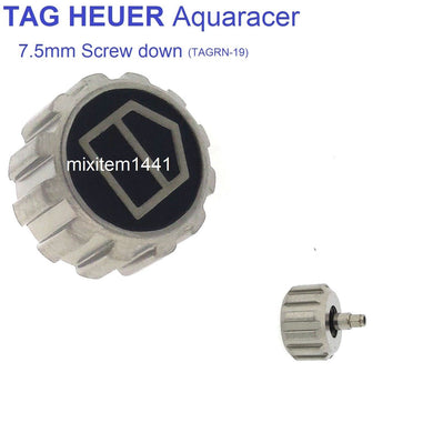 New ! Watch Crown 7.5 mm Screw Down Silver / Black for Tag Heuer Aquaracer