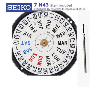 NEW ! Watch Movement Seiko 7N43 ,Stem included, repair/ replacement.