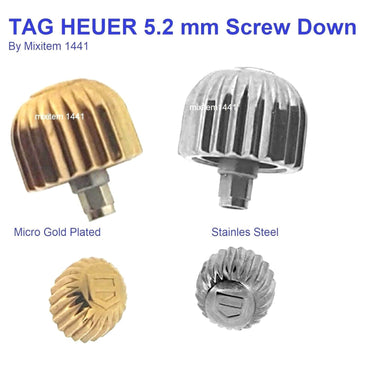 NEW ! Watch Crown For Tag Heuer 5.2 mm Screw Down Gold Plated & Stainless Steel