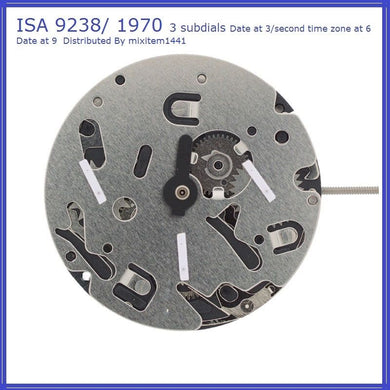 NEW ! ISA 9238 / 1970 Quartz Movement Swiss made , 3 Subs Dials