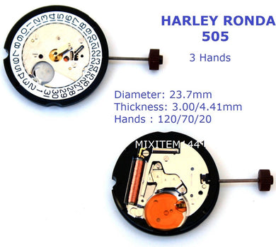 New ! Harley Ronda 505 Watch Movement - Stem included