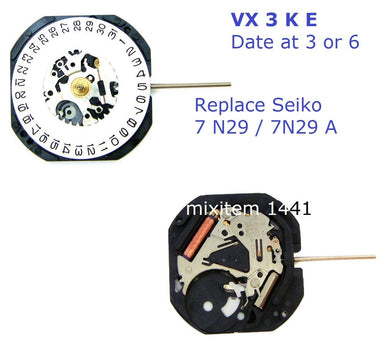 New ! Watch Movement VX 3 K E Substitute for Seiko 7N 29 A V 729.Date at 3 or 6