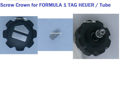 NEW ! For Tag Heuer Formula 1 Black Screw Down Crown 7.8 mm / Tube