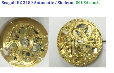 Seagull HZ 2189 Watch Movement Automatic Watch Skeleton Gold Color 3 Hands