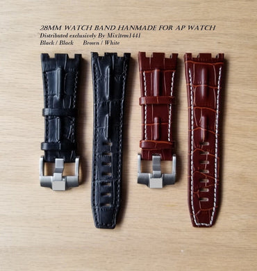 1 X Watch Band 28 mm For Audemars Piguet /Tank Buckle Alligator Leather Strap