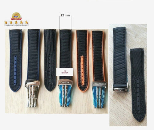 Watch Band For OMEGA Planet Ocean. Strap Rubber/Nylon 22 mm & Clasp
