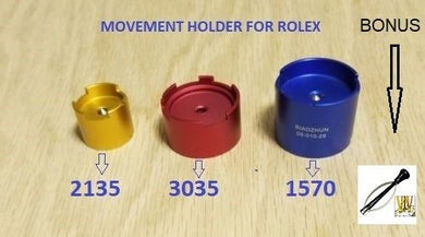 3 X MOVEMENT HOLDER for ROLEX 1570 & 2130 / 35 & 3035 Bonus Hand Remover
