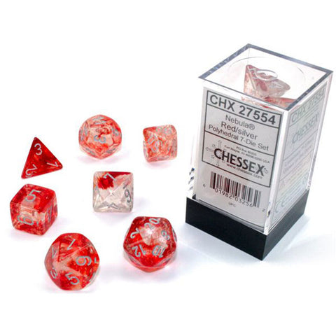 CHX 27554 Nebula Polyhedral Red/Silver Luminary 7-Die Set